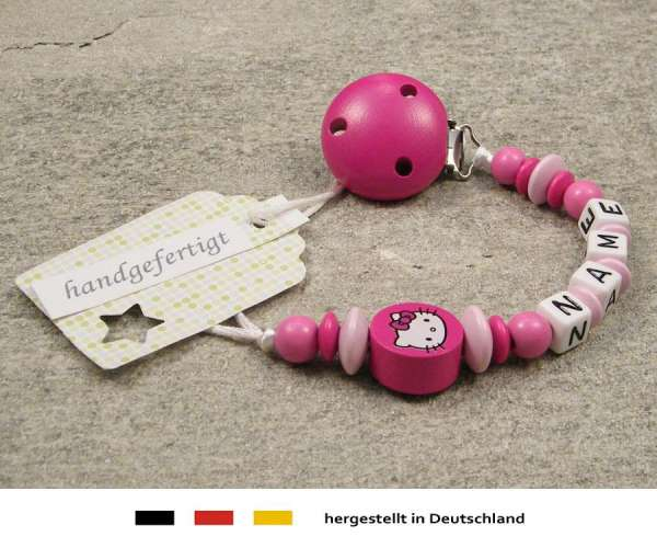 Schnullerkette mit Wunschnamen Motiv Hello Kitty in pink, rosa
