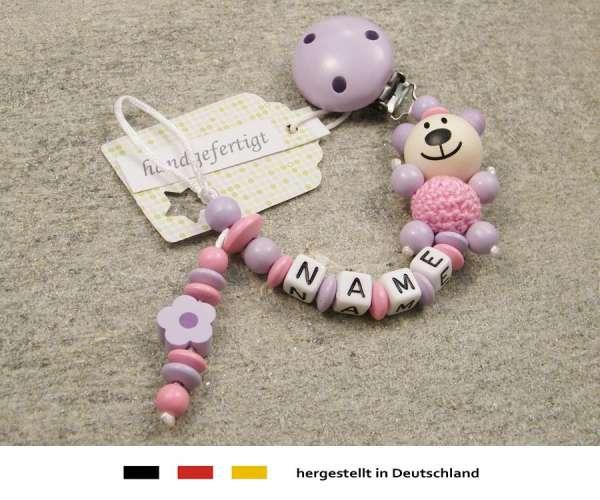 Schnullerkette mit Wunschnamen Motiv Bär Blume in flieder