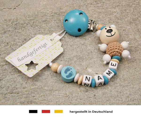 Schnullerkette mit Wunschnamen Motiv Bär und Babyfuss in türkis