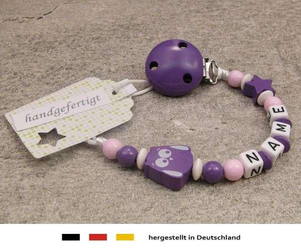 Schnullerkette mit Wunschnamen Motiv Eule & Stern in lila