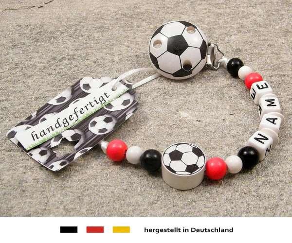 Schnullerkette mit Wunschnamen Motiv Fussball in rot, weiss, schwarz