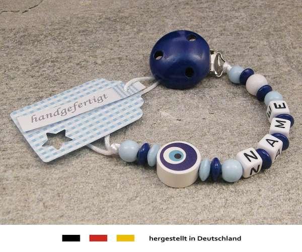 Schnullerkette mit Wunschnamen Motiv Auge von Nazar in dunkelblau