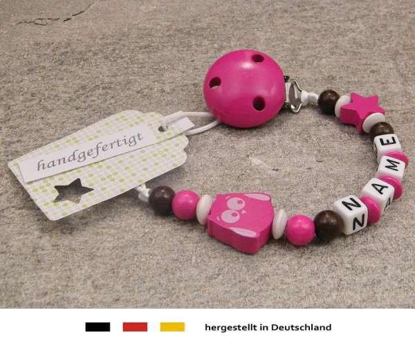 Schnullerkette mit Wunschnamen Motiv Eule & Stern in pink