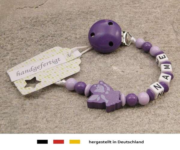 Schnullerkette mit Wunschnamen Motiv Fee in lila