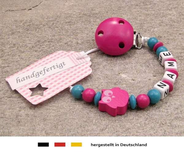 Schnullerkette mit Wunschnamen Motiv Eule in pink, türkis