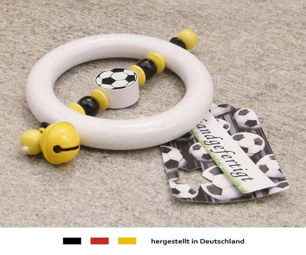Greifling Rassel Motiv Fussball in schwarz, gelb