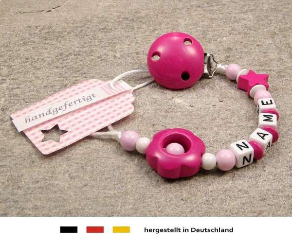 Schnullerkette mit Wunschnamen Motiv Stern & Blume in pink