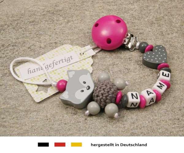 Schnullerkette mit Wunschnamen Motiv Fuchs und Herz in grau pink