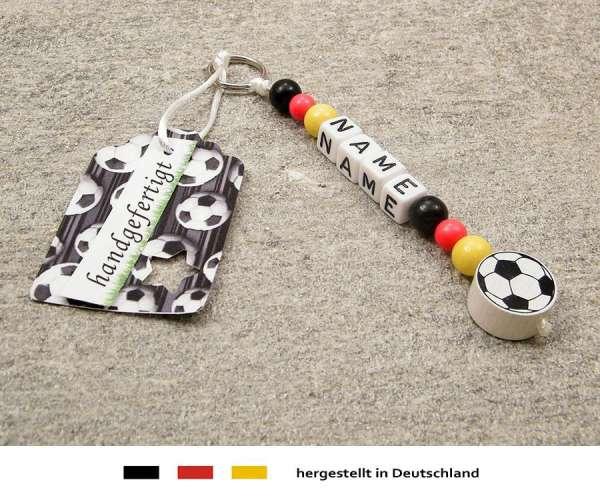 Anhänger mit Wunschnamen Motiv Fussball Deutschland in schwarz, rot, gold