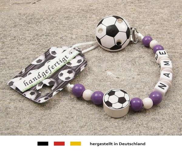 Schnullerkette mit Wunschnamen Motiv Fussball in lila, weiss