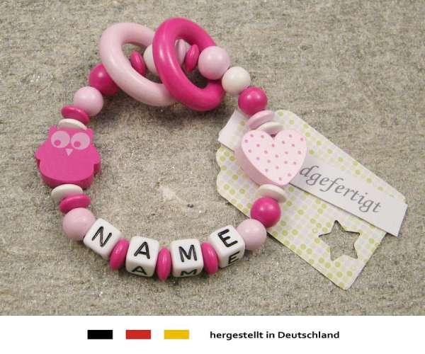 Greifling geschlossen mit Namen – Eule und Herz in pink