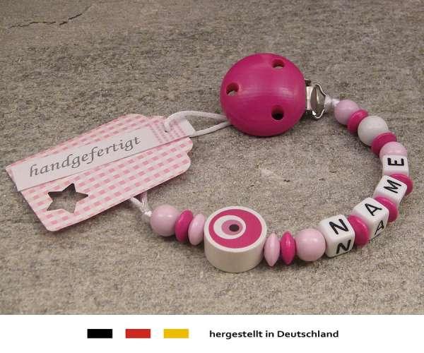 Schnullerkette mit Wunschnamen Motiv Auge von Nazar in pink
