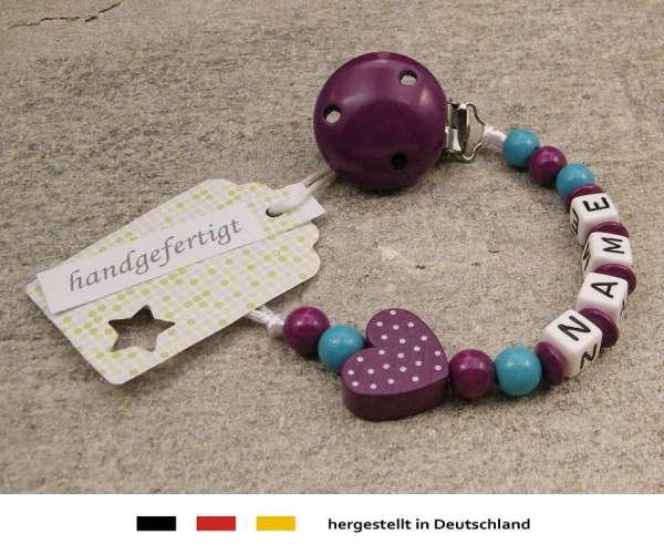 Schnullerkette mit Wunschnamen Motiv Herz in purpur