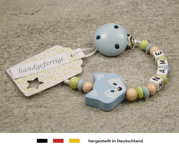Schnullerkette mit Wunschnamen Motiv Fuchs in hellblau