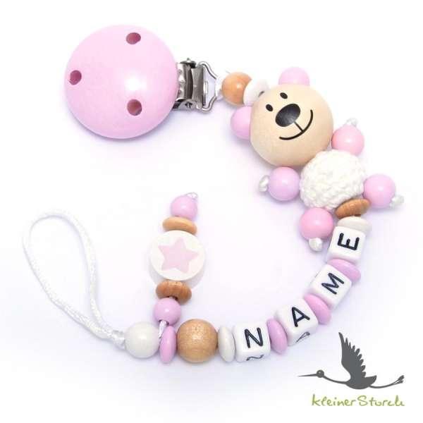 Schnullerkette mit Wunschnamen Motiv Bär und Stern in rosa