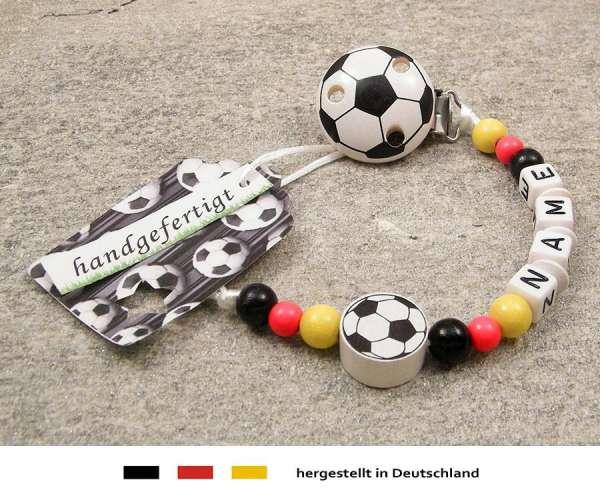 Schnullerkette mit Wunschnamen Motiv Fussball Deutschland in schwarz, rot, gold