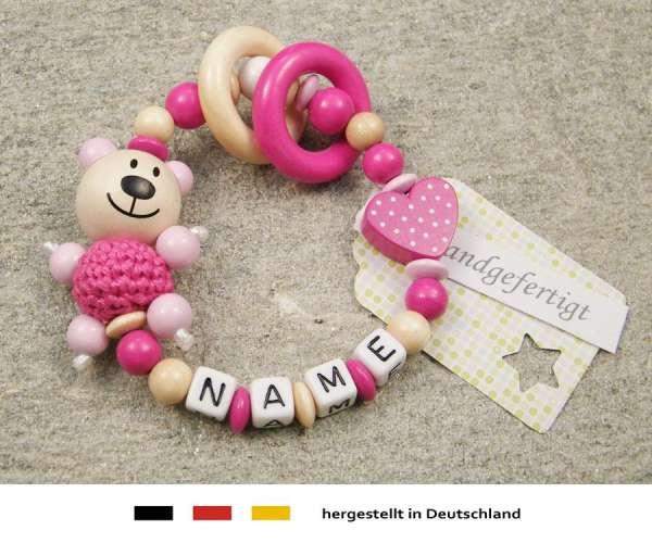 Greifling geschlossen mit Namen – Bär und Herz in pink