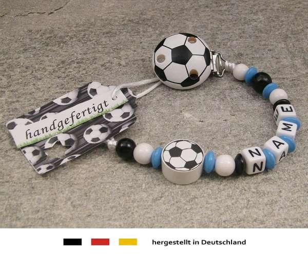 Schnullerkette mit Wunschnamen Motiv Fussball in skyblau, schwarz