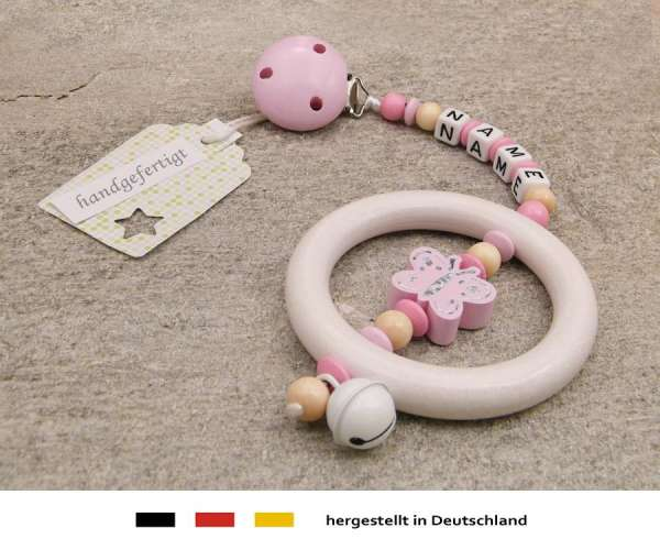 Kinderwagenkette mit Wunschnamen Schmetterling in rosa