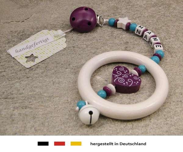 Kinderwagenkette mit Wunschnamen Ornament in purpur