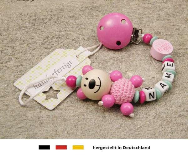 Schnullerkette mit Wunschnamen Motiv Bär und Mamas Engel in pink