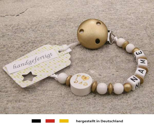 Schnullerkette mit Wunschnamen Motiv i love dad / mom in gold