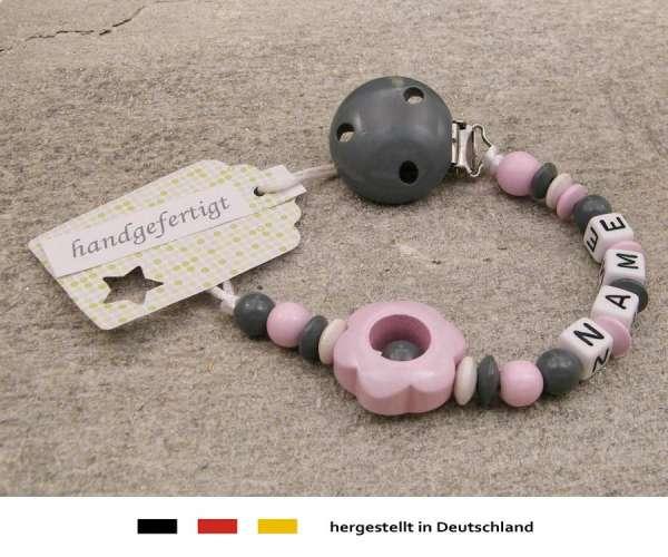 Schnullerkette mit Wunschnamen Motiv Blume in rosa