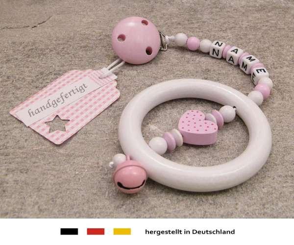 Kinderwagenkette mit Wunschnamen Herz in rosa