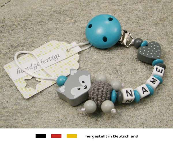 Schnullerkette mit Wunschnamen Motiv Fuchs und Herz in grau türkis