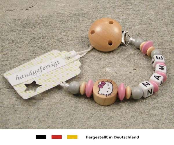 Schnullerkette mit Wunschnamen Motiv Hello Kitty in natur, rosa