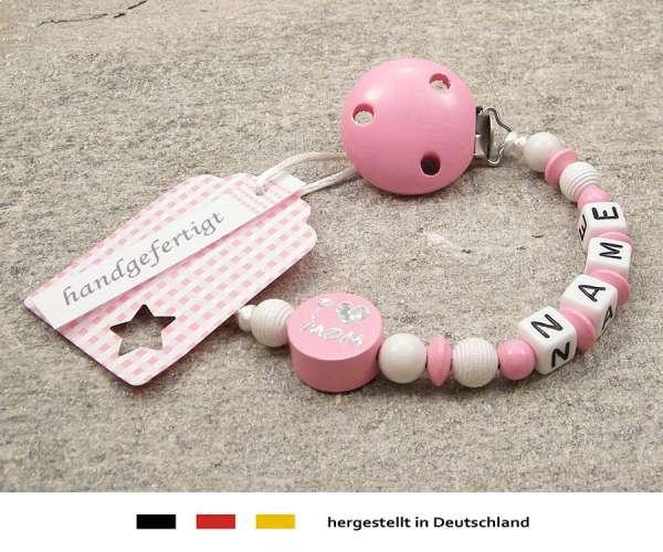Schnullerkette mit Wunschnamen Motiv i love mom / dad in rosa