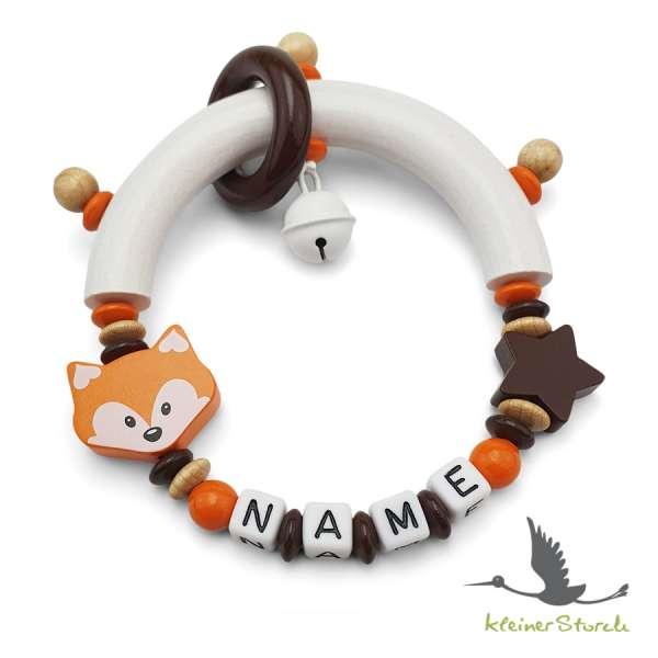 Greifling halbrund mit Namen – Fuchs in orange