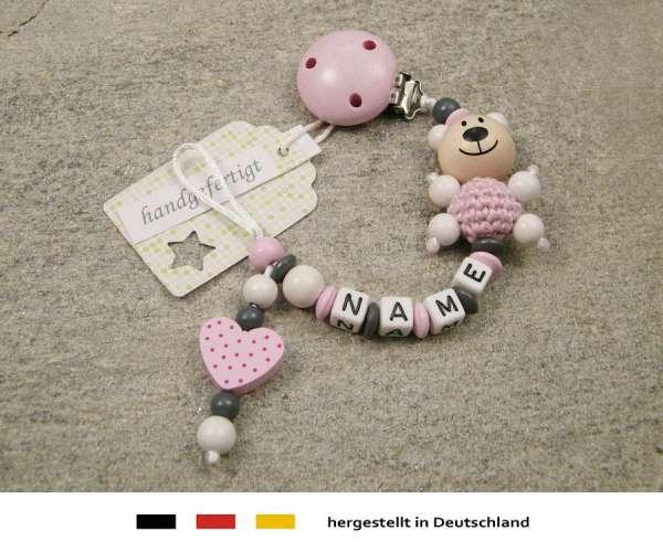Schnullerkette mit Wunschnamen Motiv Bär und Herz in rosa