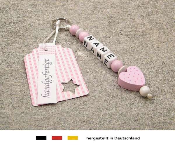 Anhänger mit Wunschnamen Motiv Herz in rosa