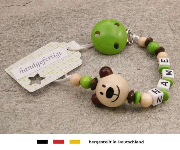 Schnullerkette mit Wunschnamen Motiv Bär in natur grün