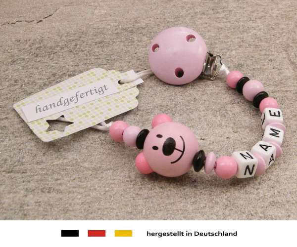 Schnullerkette mit Namen - Bär in rosa