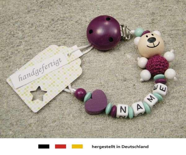 Schnullerkette mit Wunschnamen Motiv Bär und Herz in purpur