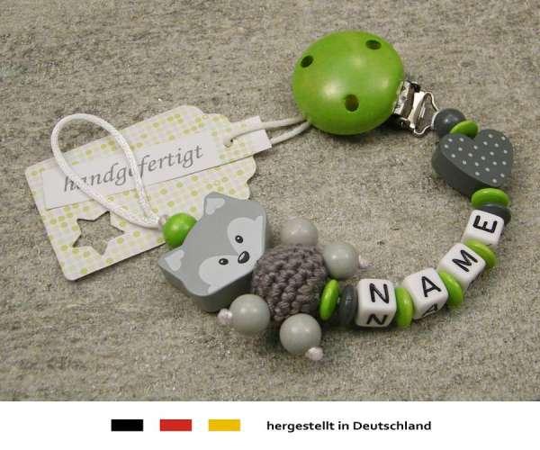 Schnullerkette mit Wunschnamen Motiv Fuchs und Herz in grau grün
