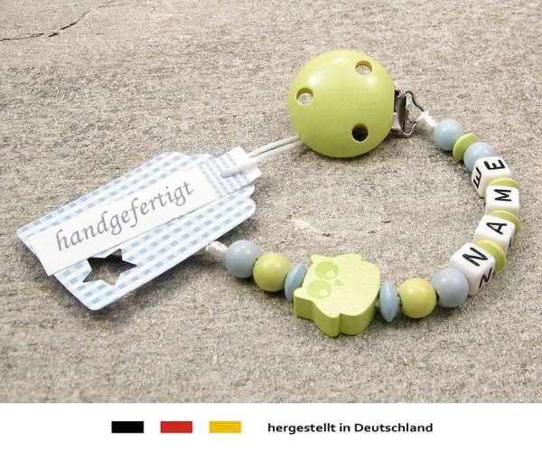 Schnullerkette mit Wunschnamen Motiv Eule in lemon grün