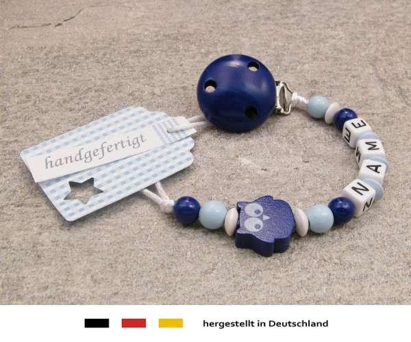 Schnullerkette mit Wunschnamen Motiv Eule in dunkelblau, hellblau