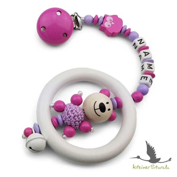 Kinderwagenkette mit Wunschnamen Bär und Eule in pink