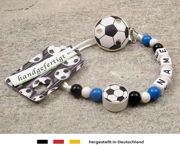 Schnullerkette mit Wunschnamen Motiv Fussball in schwarz, weiss, blau