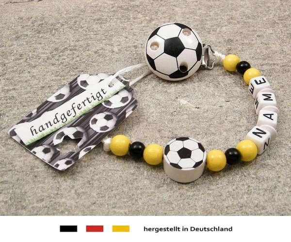 Schnullerkette mit Wunschnamen Motiv Fussball in schwarz, gelb
