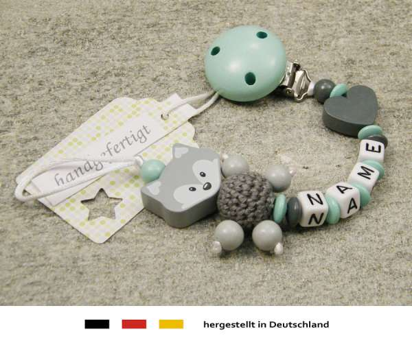 Schnullerkette mit Wunschnamen Motiv Fuchs und Herz in grau