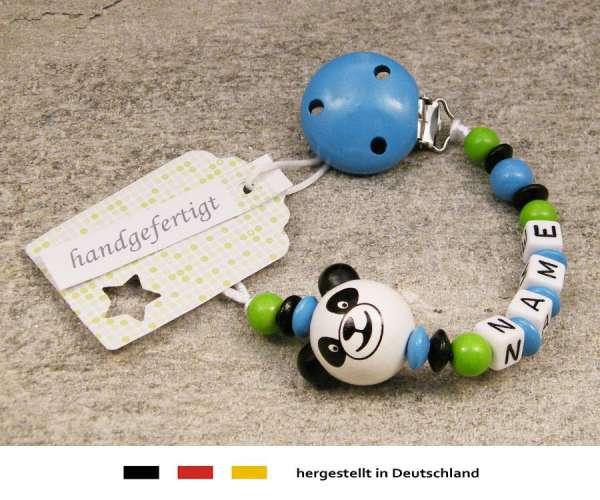 Schnullerkette mit Wunschnamen Motiv Panda Bär in skyblau