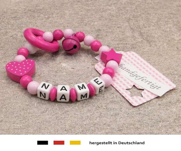 Greifling geschlossen mit Wunschnamen Motiv Herz in pink