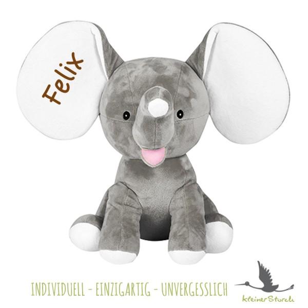 Stofftier Elefant grau mit Namen in braun
