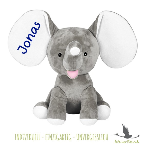 Stofftier Elefant grau mit Namen in dunkelblau