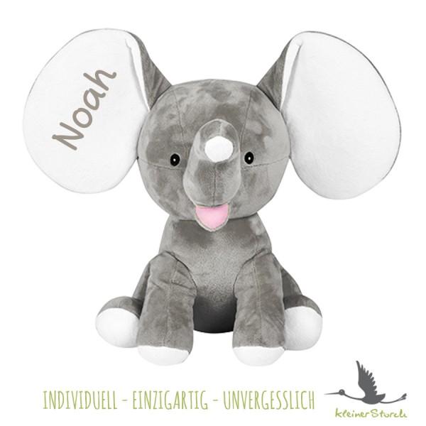 Stofftier Elefant grau mit Namen in grau