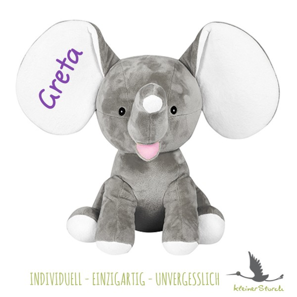 Stofftier Elefant grau mit Namen in lila